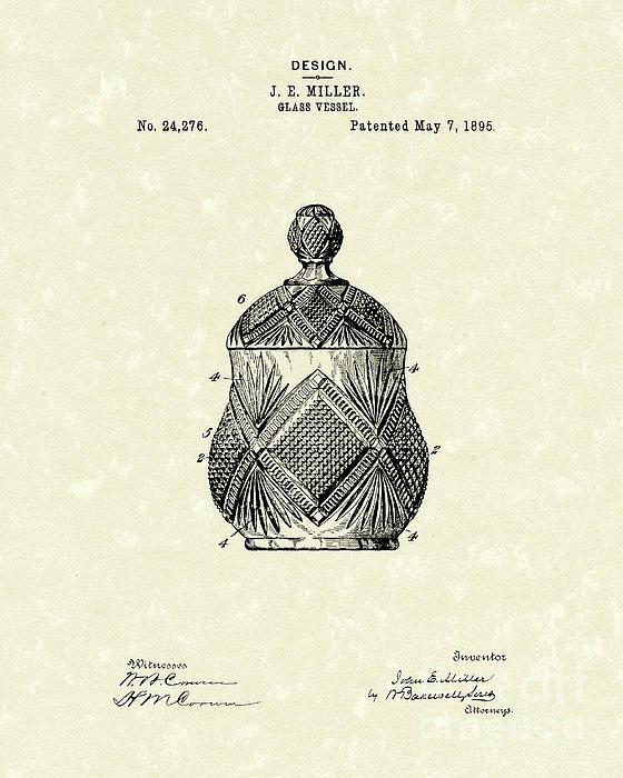 Glass Vessel 1895 Patent Art Print by Prior Art Design
