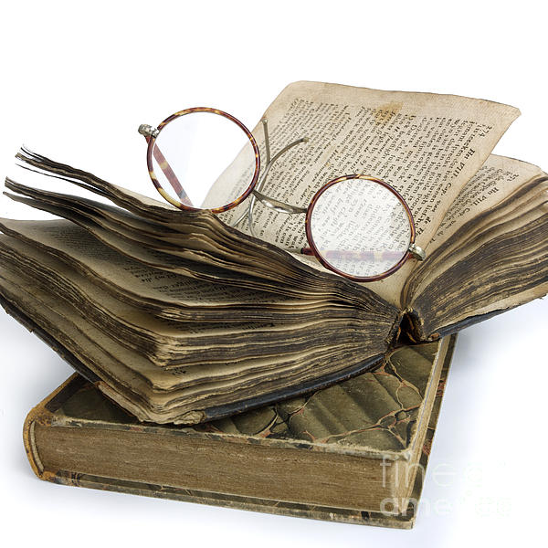 Glasses And Book Print by Bernard Jaubert