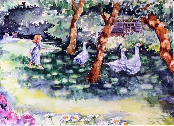 Glimpse Into A Garden  Print by Trudi Doyle