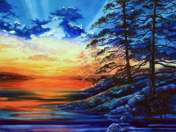 Glorious Lake Sunset Print by Hanne Lore Koehler