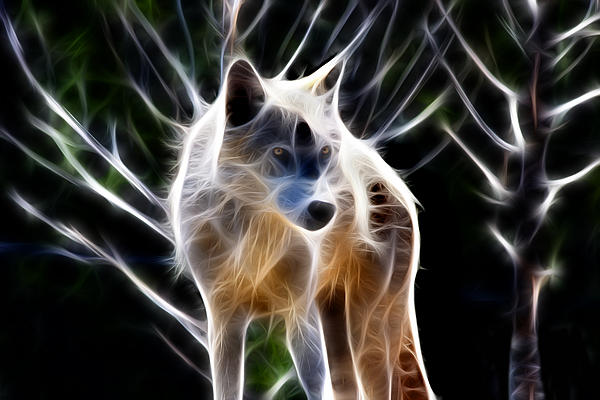 Glowing Wolf Print by Shane Bechler