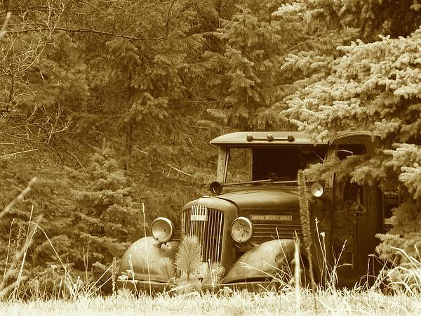Gm Truck  Sepia Print by Steven Parker