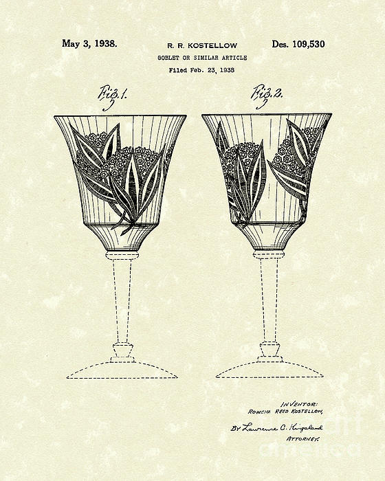 Goblet 1938 Patent Art Print by Prior Art Design