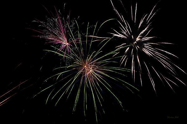 God Bless America Fireworks Print by Christina Rollo