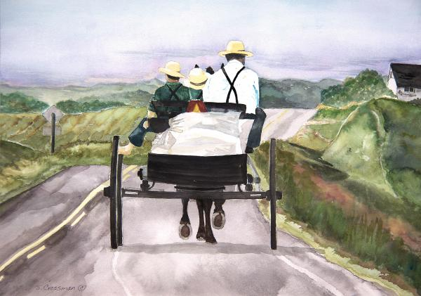 Going Home From Market Print by Susan Crossman Buscho