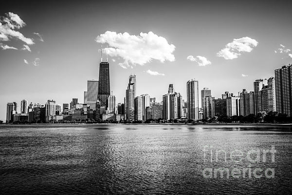 Gold Coast Skyline In Chicago Black And White Picture Print by Paul Velgos