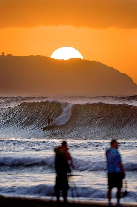 Gold Kaena Sunset Print by Sean Davey