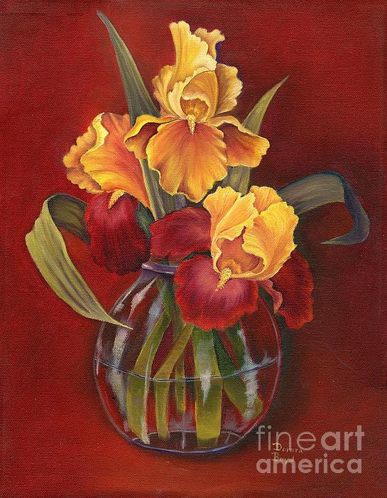 Gold N Red Iris Print by Doreta Y Boyd