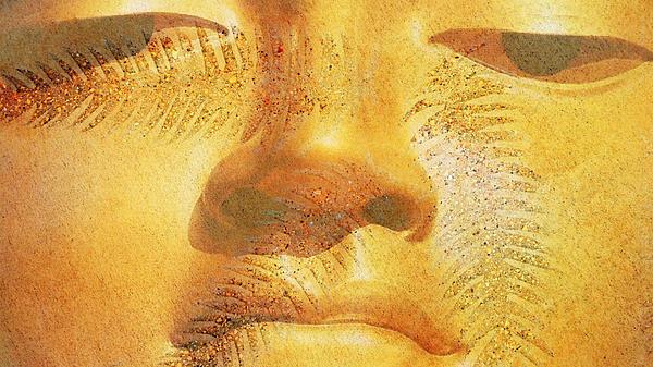 Golden Buddha - Art By Sharon Cummings Print by Sharon Cummings