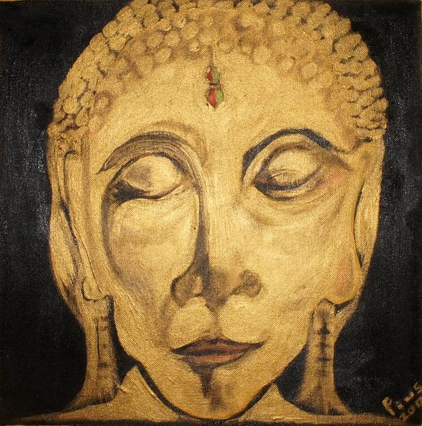 Golden Buddha Nirvana Print by Pius Kendakur