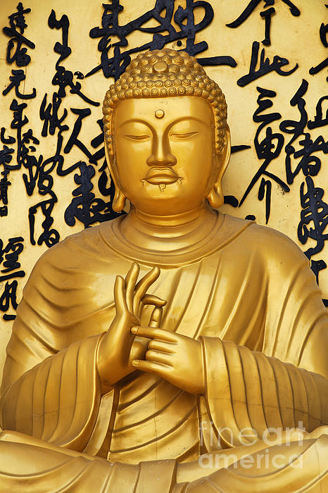 Golden Buddha Statue At The World Peace Pagoda Pokhara Print by Robert Preston