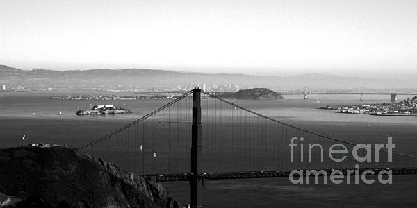 Golden Gate And Bay Bridges Print by Linda Woods