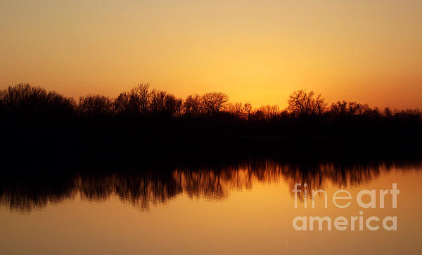 Golden Lake Reflections Print by R McLellan