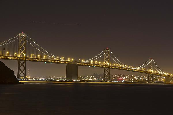 Golden Night On The Bay Print by Miguel  Uribe
