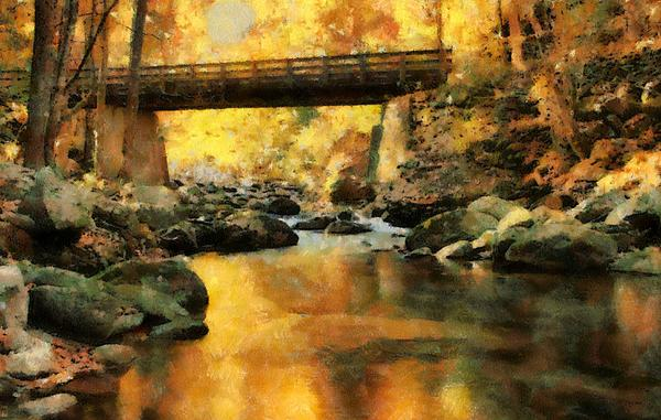 Dan Sproul - Golden Reflection Autumn Bridge