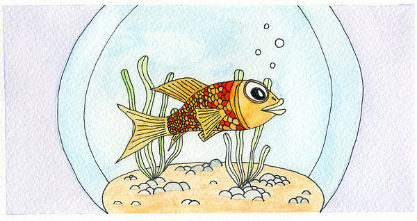 Goldfish In Bowl Print by Dan  Orapello