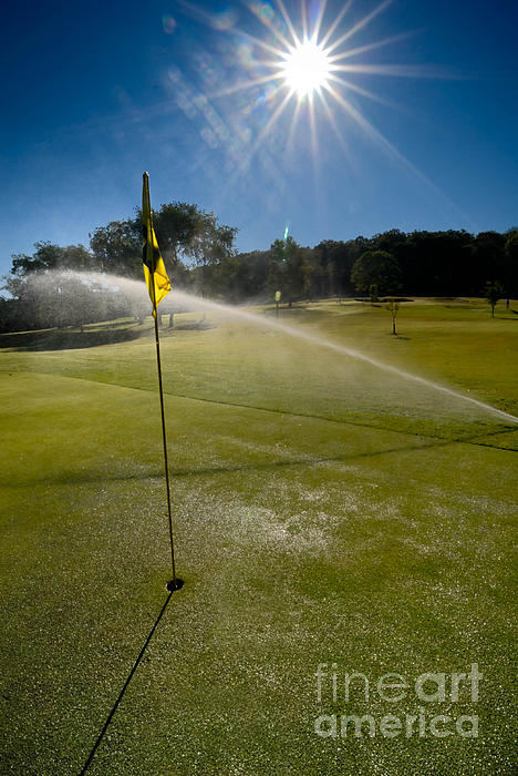 Golf Course Sprinkler On Sunny Day Print by Amy Cicconi