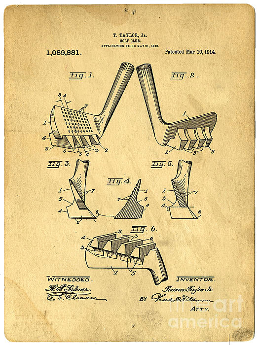 Golf Putter Patent Print by Edward Fielding