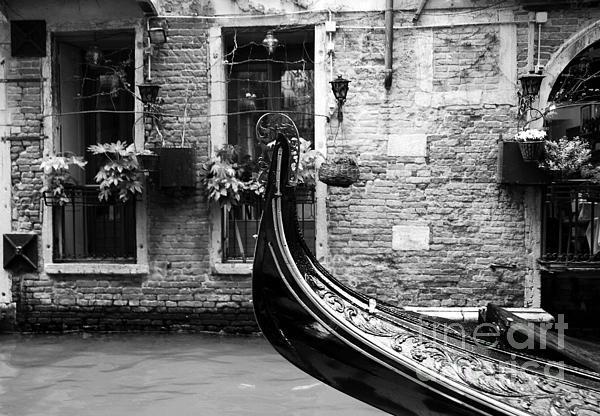 Gondola In Venice Bw Print by Mel Steinhauer