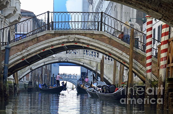 Gondolas And Bridges On Canal Print by Sami Sarkis
