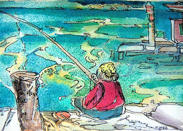 Gone Fishing Print by Mindy Newman