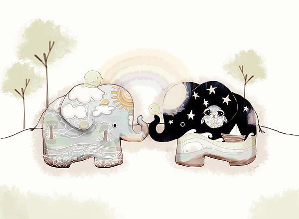 Good Karma Elephants Print by Karin Taylor