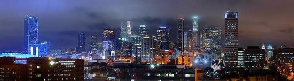 Gotham City - Los Angeles Skyline Downtown At Night Print by Jon Holiday