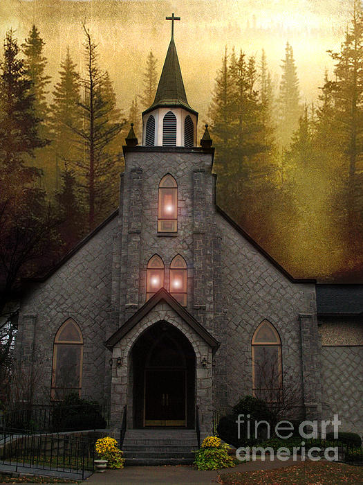 Gothic Old Church Autumn Forest Woodlands Print by Kathy Fornal