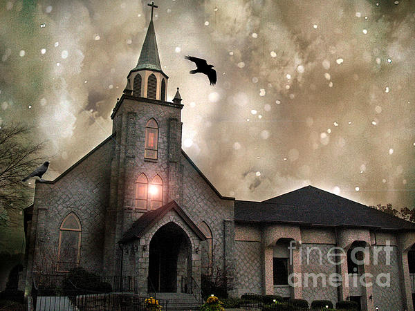 Gothic Surreal Haunted Church And Steeple With Crows And Ravens Flying  Print by Kathy Fornal