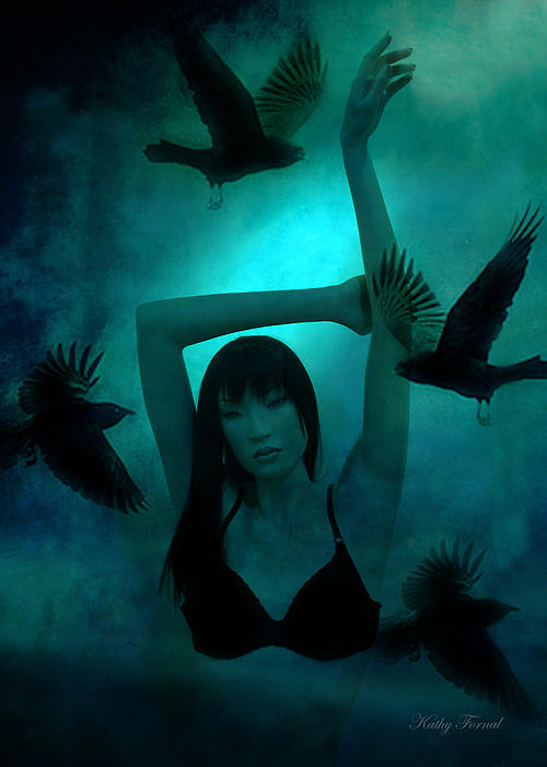 Gothic Surreal Ravens With Asian Girl Print by Kathy Fornal