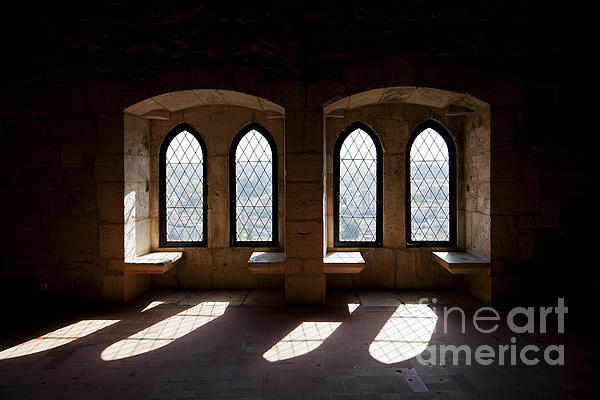 Gothic Windows Of The Royal Residence In The Leiria Castle Print by Jose Elias - Sofia Pereira