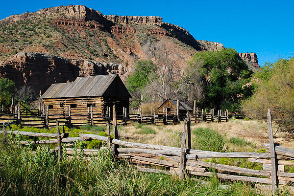 Grafton Log Barn And Fences Rockville Utah Print by Robert Ford