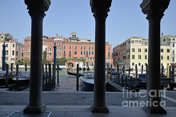Grand Canal Viewed Through Columns Print by Sami Sarkis