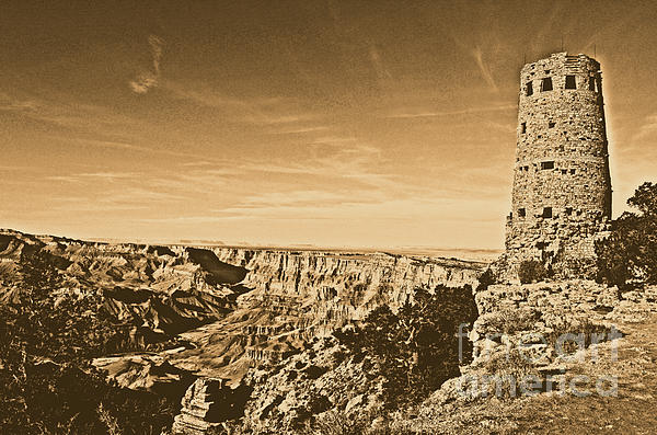Grand Canyon National Park Mary Colter Designed Desert View Watchtower Rustic Print by Shawn O'Brien
