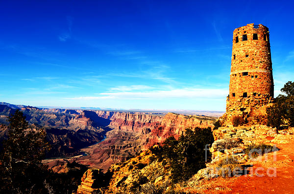 Grand Canyon National Park Mary Colter Designed Desert View Watchtower Vivid Print by Shawn O'Brien