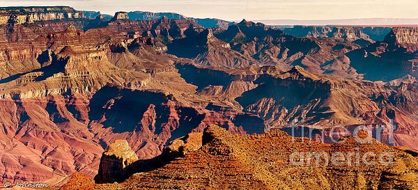 Grand Canyon Navajo Point Panorama At Sunrise Print by  Bob and Nadine Johnston