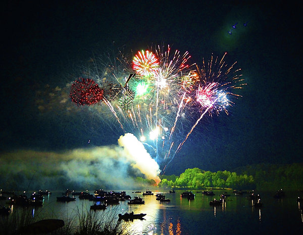 Grand Finale Over The Lake Print by Sandi OReilly