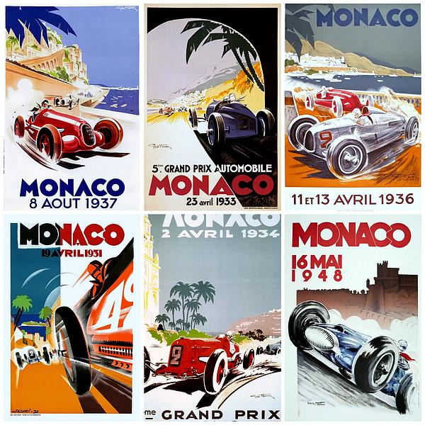 Grand Prix Of Monaco Vintage Poster Collage Print by Don Struke