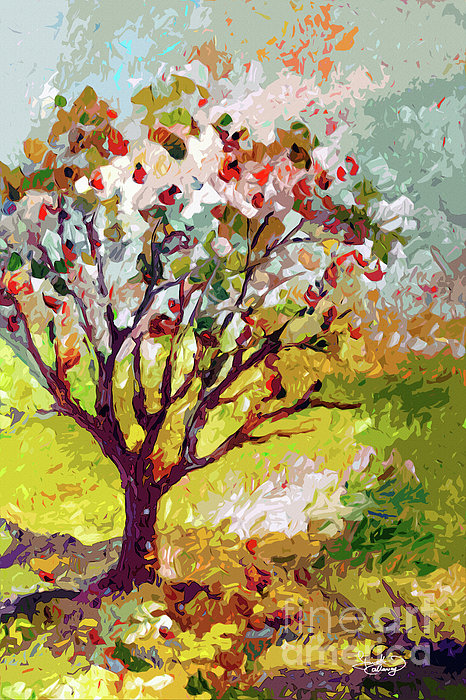 Grandmas Apple Tree Modern Art Print by Ginette Callaway