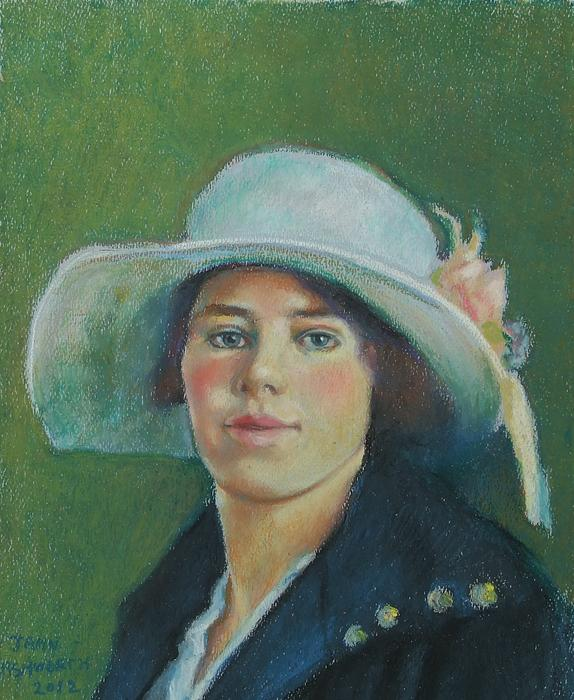 Grandmother In Pastel Print by Janet Ashworth