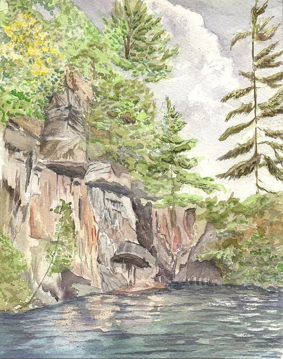 Granite Cliffs On Sherbourne Lake Print by Lori Kallay