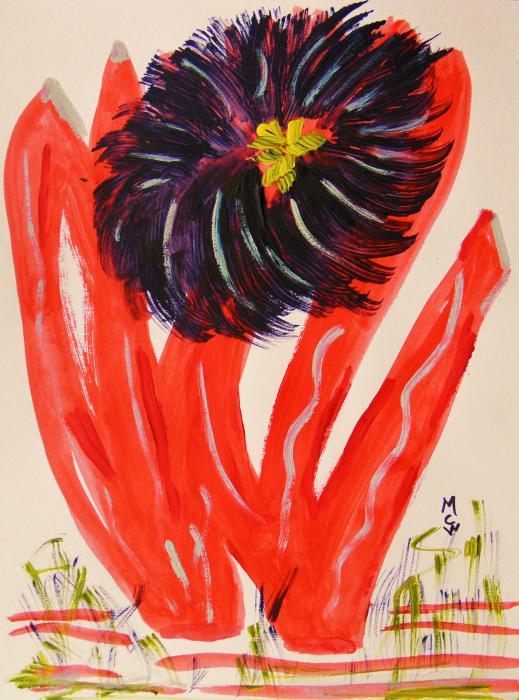 Gray And Vermillion Print by Mary Carol Williams