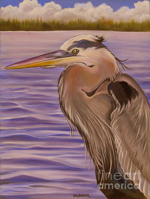 Great Blue Heron Portrait Print by Phyllis Beiser