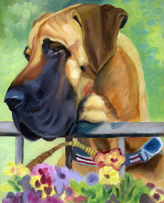 Great Dane On Balcony Print by Lyn Cook