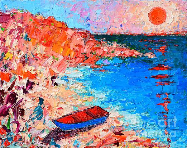 Ana Maria Edulescu - Greece - Santorini Island - Fishing Boat On Akrotiri Beach At Sunrise