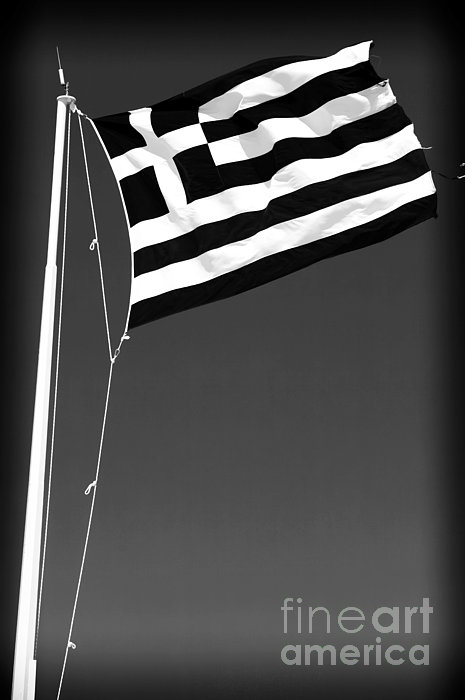 Greek Flag Print by John Rizzuto