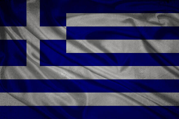 Eti Reid - Greek flag waving on canvas