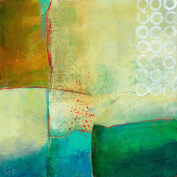 Green And Red 10 Print by Jane Davies