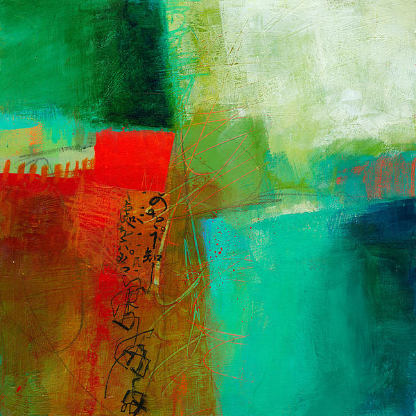 Green And Red 4 Print by Jane Davies