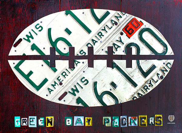 Green Bay Packers Football License Plate Art Print by Design Turnpike